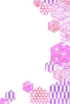 粉色日式新年賀卡(豎款)