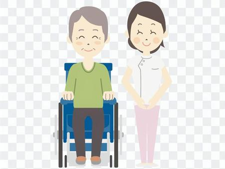 照顾者和轮椅