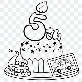 年齡5歲生日蛋糕線描繪畫
