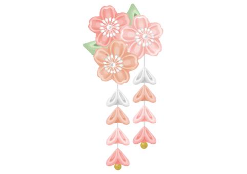 Knob work (Sakura) hair ornament illustration