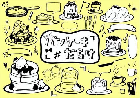Pancake hand drawn illustration set