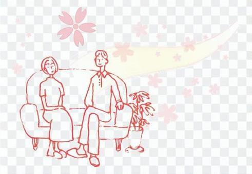 一對年輕的夫婦,作為櫻花放鬆