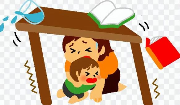 父母和孩子躲在地震機器下