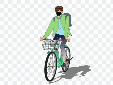 一個戴著口罩和騎自行車上下班的人