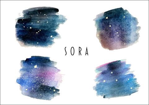 Starry sky watercolor illustration set