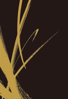 金色畫筆描邊黑色背景日式