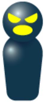 簡略人間-黒(悪人-怒鳴る)