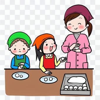 Making mozuki with New Year cake making dumplings with children