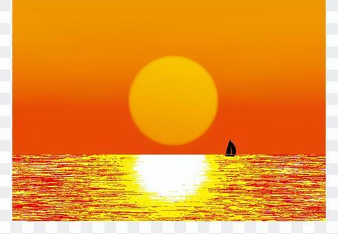 設置日落和帆船