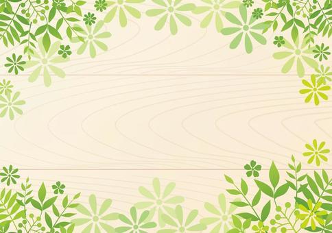 葉和花框架背景木頭