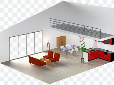 Living room with loft-2 (cross section)