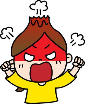 憤怒的女性馬尾辮爆炸上身
