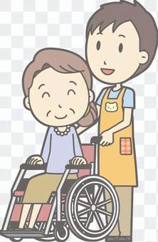 苗圃人推輪椅整個身體