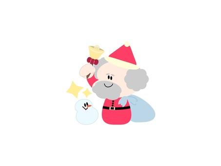 聖誕老人按鈴和雪人