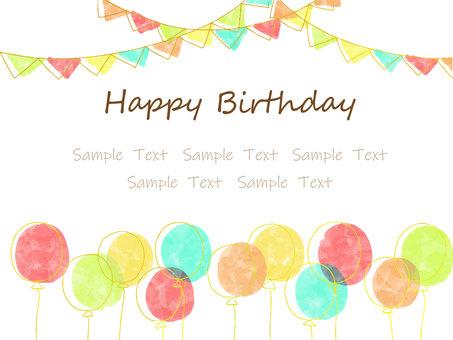 氣球和花環背景生日賀卡