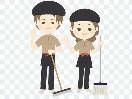 穿著略顯時尚的製服清潔工作人員