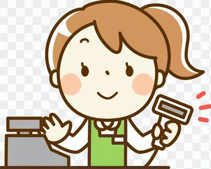 女孩打兼職工作 - 收銀機