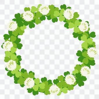 白三葉草和三葉草的圓形框架