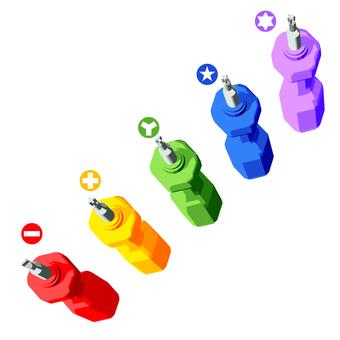 5種專用螺絲刀,5種顏色