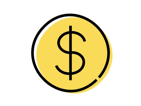 手寫美元硬幣圖標:黑線 x 黃色油漆
