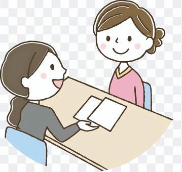 相談する女性/契約/説明/カウンセリング