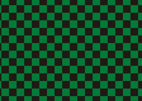 方格圖案黑色 x 綠色
