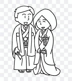 婚禮和服黑色和白色
