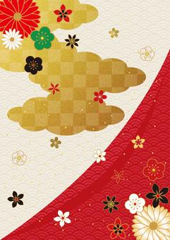 日本圖案和金箔 cloud_red 垂直背景 2867