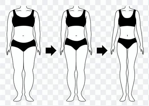 ダイエットの経過 太った人と痩せた人