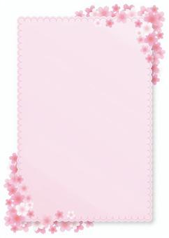 櫻花框架,背景,A4長度,與油漆