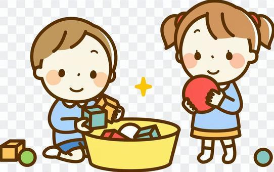 一個女孩和一個男孩清理玩具