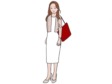Young woman with a red bag