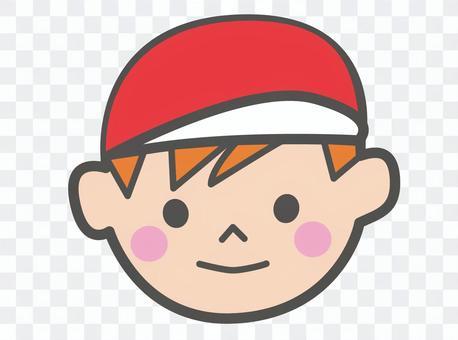 戴紅色帽子的運動會男孩