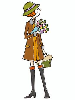 A girl with a bouquet