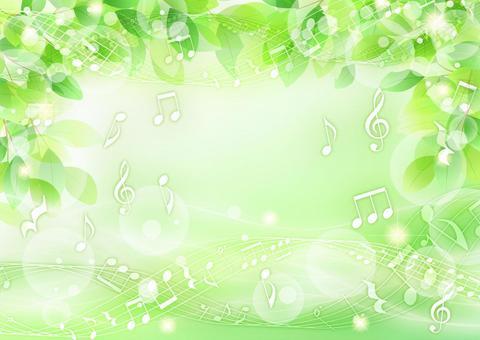 清新的綠色,流水和音符的閃閃發光的背景