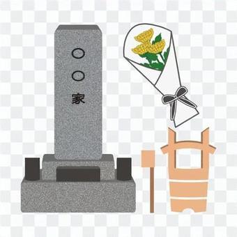 參觀墳墓的圖像(帶花的類型)