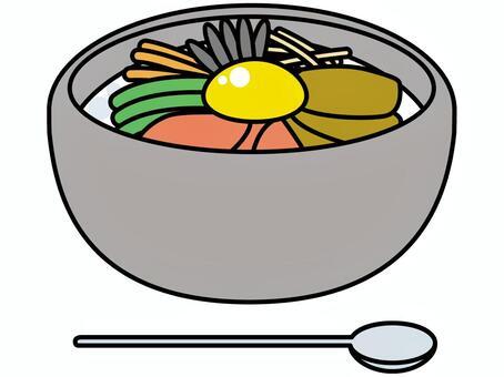 石煮熟的石鍋拌飯