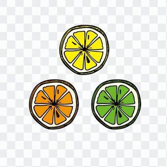 簡單的檸檬,橙,酸橙