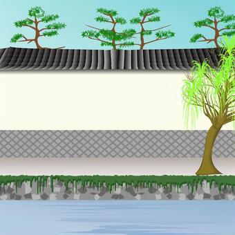 城下町 白壁 壁 川 風情 時代劇 風景