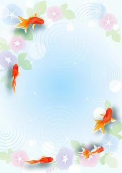 金魚と朝顔のフレーム(たて)
