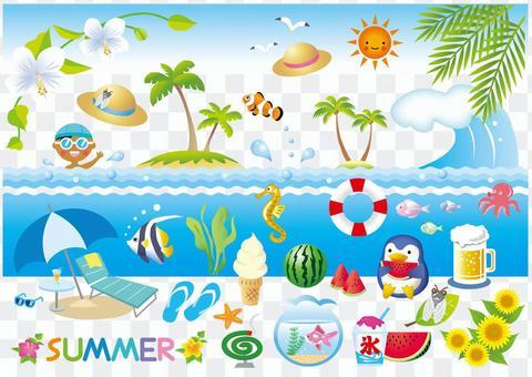 Various summer item (white borderless version) version