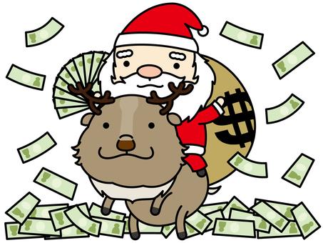 聖誕老人和馴鹿灑金