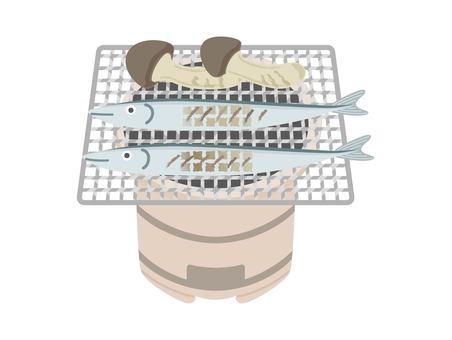 Illustration of saury and matsutake mushrooms baked on a shichirin