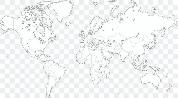 世界地図ぬり絵 白地図 国境
