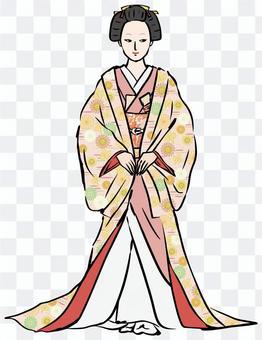 輕率地計劃某事的日式形象Ooku女人