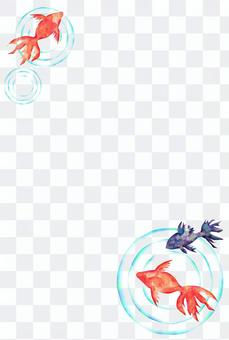 Simple watercolor of goldfish (postcard ratio)