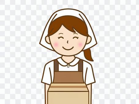 紙板移動女人吊帶微笑
