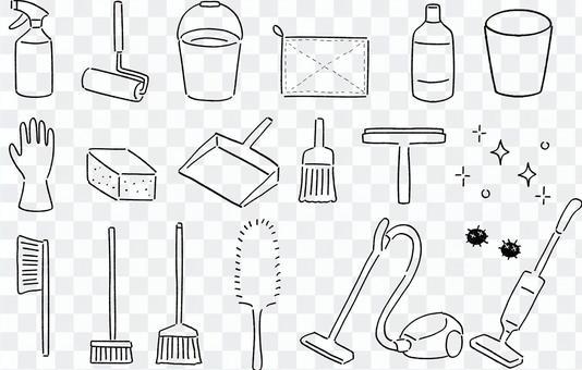 清潔用品的簡單線條圖
