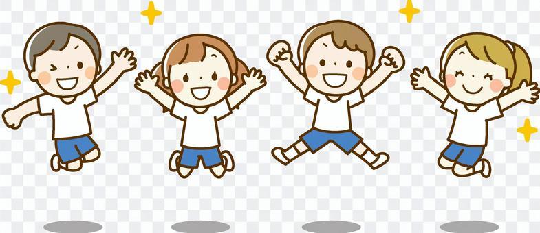 跳躍的孩子(健身房衣服)