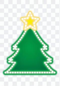 霓虹標誌·聖誕樹(白色背景)